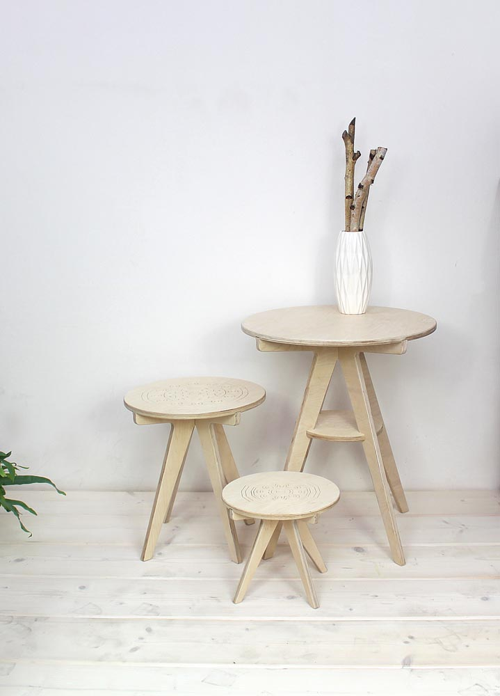 colection of plywood tables